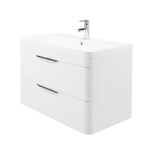 Parade 800mm White Gloss Wall Mounted Vanity Unit & Basin